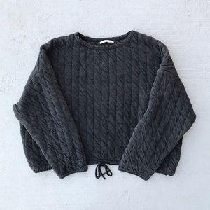 Zara Gray Quilted Drawstring Top Sweatshirt